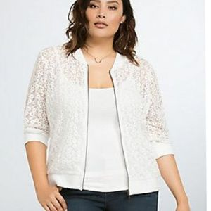 Torrid, floral, embroidered, white, zip up